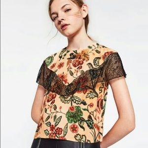 Zara orange floral crop tee with lace